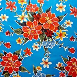 Toile cirée Hibiscus bleu