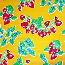 Wachstuch Erdbeere gelb