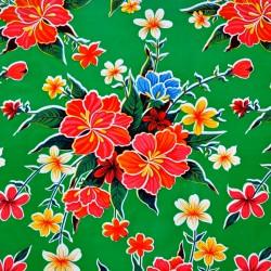 Toile cirée Hibiscus vert