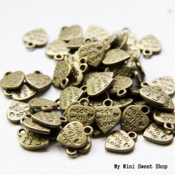 Breloque coeur Made with love - Bronze