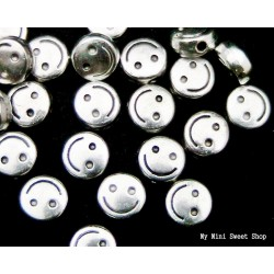 Round flat bead - Silver