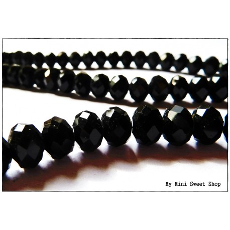 Black Faceted Glass Bead - 8mm