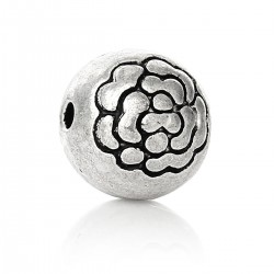 Rose ball bead - Silver
