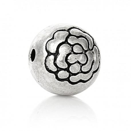 Round flat bead - Silver