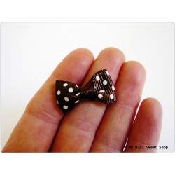 Mini ribbon bow - Chocolate with polka dots