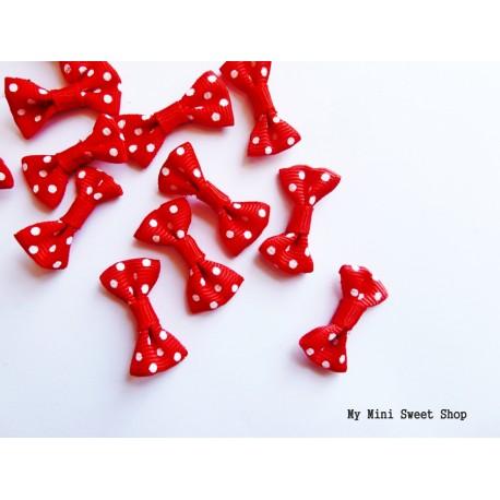 Mini ribbon bow with polka dots - Light blue