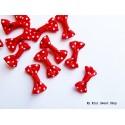Mini ribbon bow with polka dots - Red
