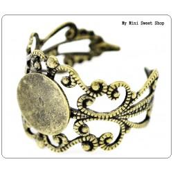 Filigraner Ring Rohlinge mit Klebeplatte - Bronzefarbe