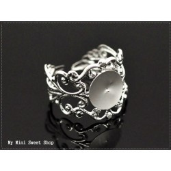 Filigree Ring blank with pad - Bronze