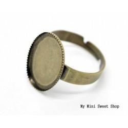 Bague avec support cabochon ovale - Bronze