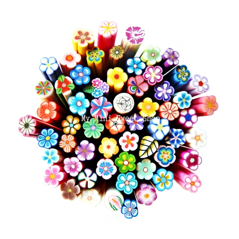 Lot de 10 canes Fimo fleurs / canes polymère