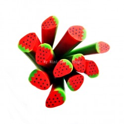 Wild strawberry polymer clay cane