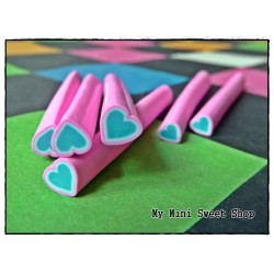 Pink and blue heart polymer clay cane