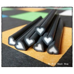 Black heart polymer clay cane