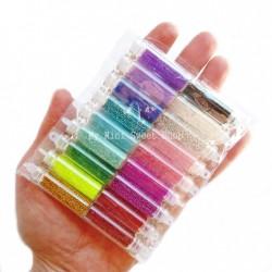 18 Microperlen Glasfläschchen
