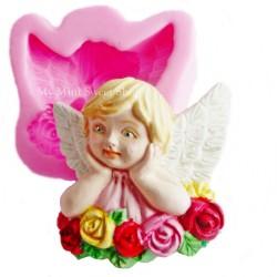 Mal engel met rozen
